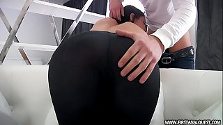 FirstAnalQuest.com - BUTT Pornography WITH A SEXY RUSSIAN TEEN IN TIGHT LEGGINGS