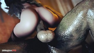 2B fucked by a huge monster dick