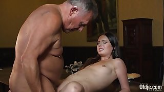 Youthfull princess fucks the old butler in the hall room