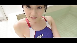 Manami Yamagichi High-cut swimsuit (speedo) blue legs,ass-fetish image video solo