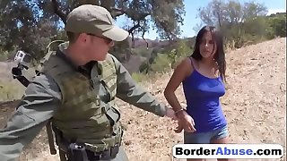 Border Patrol Catches Sexy Civilian Girl And Screws Her Little Cunt